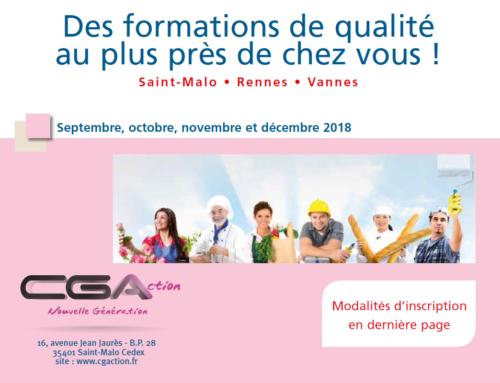 CGA Formation septembre, octobre, novembre et décembre 2018