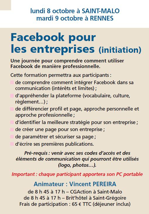 Facebook pour loes entreprises (initiation)