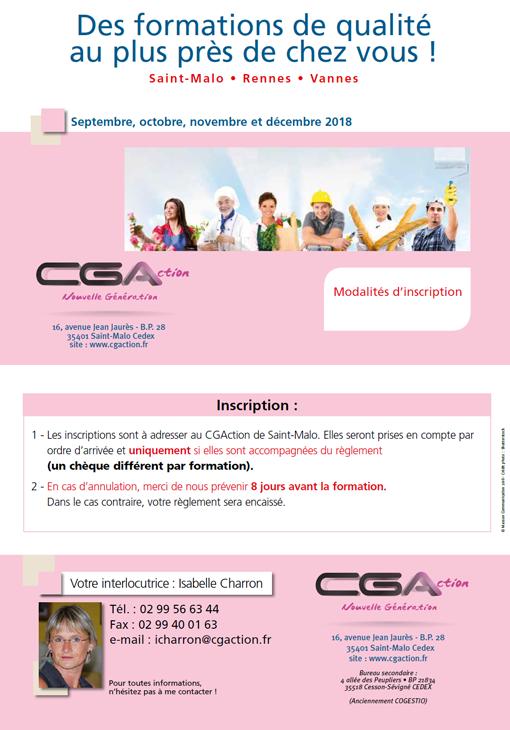 Programme Formation CGA Artisan Commercant septembre octobre novembre décembre 2018