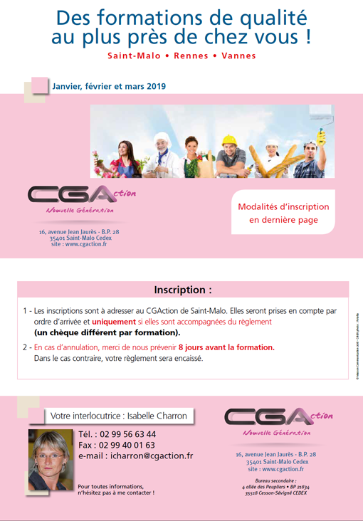 Programme Formation CGA Artisan Commercant janvier février mars 2018