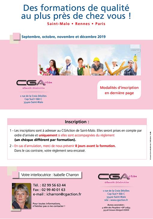 Programme Formation CGA Artisan Commercant septembre, octobre, novembre et décembre 2019